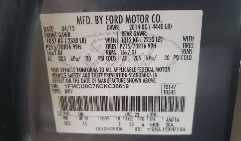 FORD ESCAPE XLS 2012 full